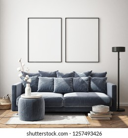 mock up poster frame in living room interior background, Scandinavian style, 3D render, 3D illustration