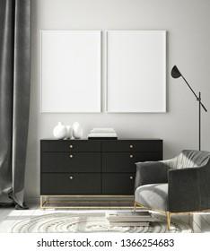mock up poster frame in living room interior background, Scandinavian style, 3D render, 3D illustration