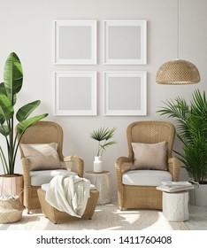 mock up poster frame in living room interior background, Boho style, 3D render, 3D illustration