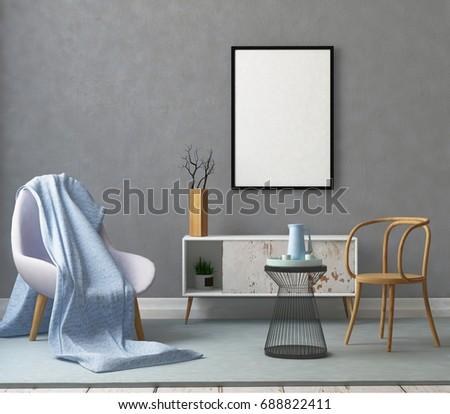 Mock Poster Frame Living Room Stockillustratie 688822411 Shutterstock