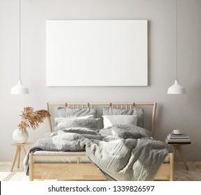 mock up poster frame in modern bedroom interior background, living room, Scandinavian style, 3D render, 3D illustration