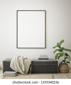 mock up poster frame in modern interior background, bohemian living room, Scandinavian style, 3D render, 3D illustration