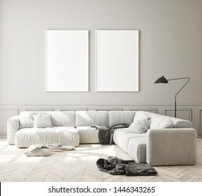 mock up poster frame in modern interior background, living room, Scandinavian style, 3D
