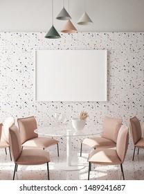 mock up poster frame in modern interior background, cafe, restaurant, 3D render, 3D illustration