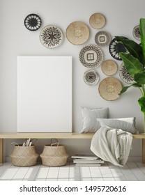 mock up poster frame in modern interior background with wall baskets, living room, boho style, 3D render, 3D illustration