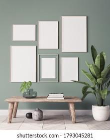 mock up poster frame in modern interior background, gallery wall in green living room, Scandinavian Boho style, 3d render, 3d illustration
