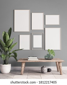 mock up poster frame in modern interior background, gallery wall in gray living room, Scandinavian Boho style, 3d illustration