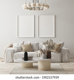 mock up poster frame in modern interior background, living room, Scandinavian style, 3D render, 3D illustration