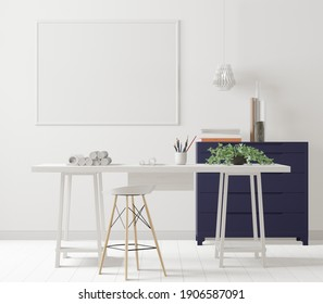 A mock up poster frame in modern interior background behind of working table in office room with trees, 3D render, 3D illustration