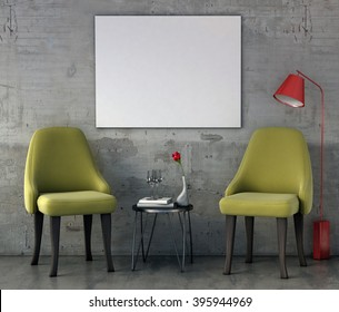 mock up poster frame in modern interior background, 3D render