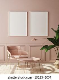 mock up poster frame in modern monochrome interior background, living room, Scandinavian style, 3D render, 3D illustration