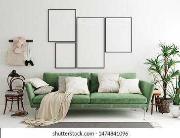 Mock up poster frame in olive green modern interior background, living room, Scandinavian style, 3D render, 3D illustration