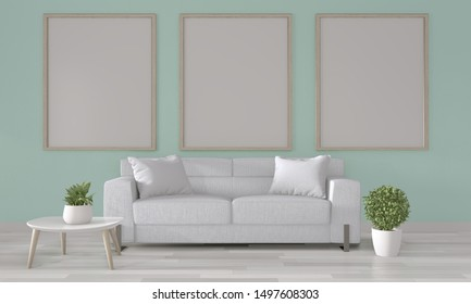Mock up poster frame on mint wall with white sofa on modern room interior.3D rendering