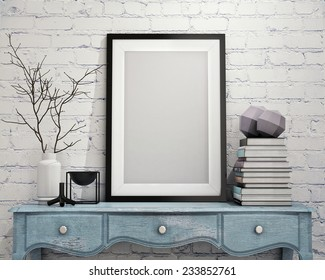 mock up poster frame with on vintage chest of drawers, hipster interior background, 3D render