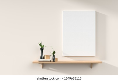 Mock up poster frame on white wall with wooden rack. 3D illustration