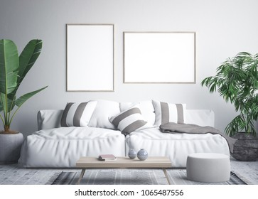 Mock up poster frame in tropical interior  background, 3D render