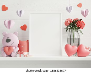 Mock up poster frame in valentine room,posters on empty white wall background,3D rendering