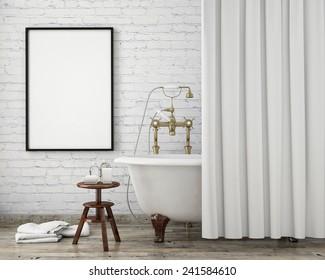 mock up poster frame in vintage hipster bathroom, interior background, 3D render