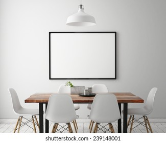 mock up poster frame in white scandinavian dining room, interior background, 3D render