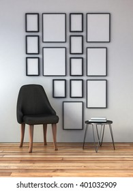 mock up poster frames composition on a white wall interior. 3d rendering
