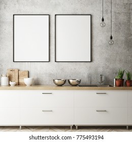 mock up poster frames in hipster kitchen interior background, Scandinavian style, 3D render, 3D illustration