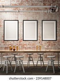 mock up poster frames on the wall of retro hipster cafe restaurant, interior background, 3D render