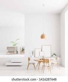Mock up poster frames in Scandinavian style dining room interior. Minimalist dining room design. 3D illustration.