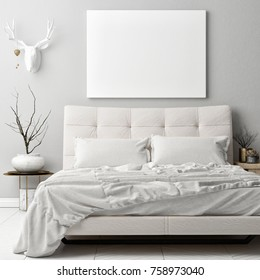 Mock up poster in hipster bed room , deer horns decoration on the wall, 3d render, 3d illustration