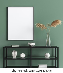 Mock up poster in interior background, modern style, 3D render