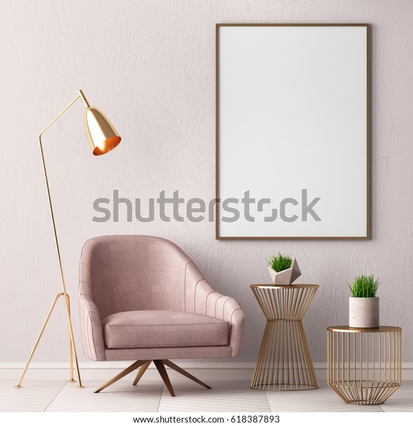 Mock up poster in the interior with a chair and a table, 3D render, 3d illustration.