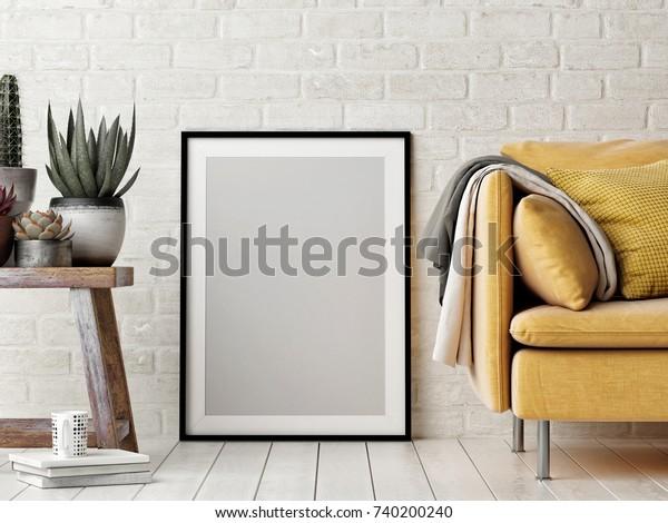 Mock up плакат, интерьер композиции, диван, деревянный стул, цветок и белый плакат, 3d рендер, 3d иллюстрация