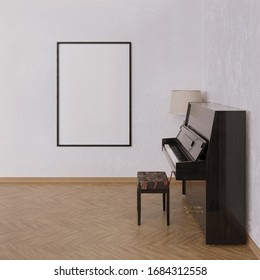 Mock up poster in interior with piano. 3d render.