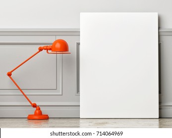 Mock up poster with  lamp on wooden floor, 3d illustration