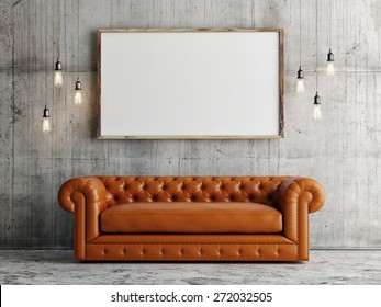 Mock up poster, leather sofa, concrete wall background, 3d illustration