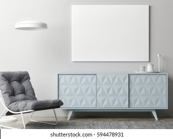 Mock up poster in living room, 3d illustration