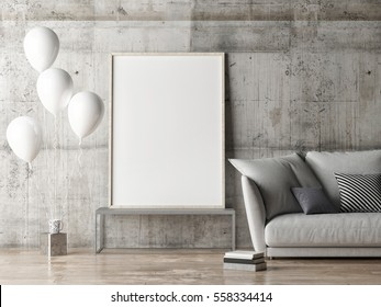 mock up poster, living room with balloons, 3d illustration