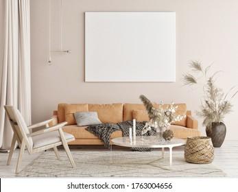 Mock up poster in Living room, natural colors background, 3d render, 3d illustration