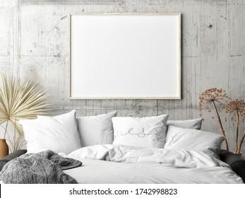 Mock up poster in living room Scandinavian design, Comfortable sofa, 3d illustration, 3d render