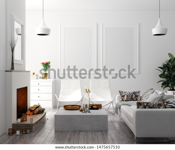 Mock Poster Modern Home Interior Fireplace | Interiors Stock Image