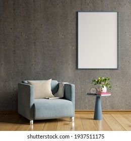 Mock up poster in modern living room interior design with concrete empty wall.3d rendering