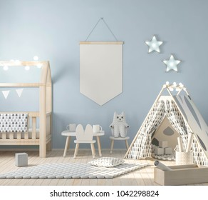 Mock up poster on blue wall in kids room 3d rendering