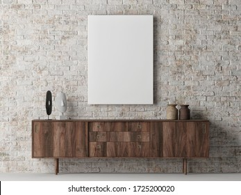 Mock up poster on brick wall, Scandinavian Living room design, poster on background, 3d render, 3d illustration