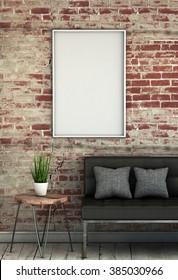 Mock up poster on a brick wall - 3D render illustration