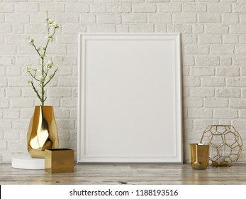 Mock up poster on the wall with home decoration, 3d render, 3d illustration