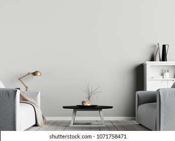 mock up poster on the wall in interior with emty wall background with armchair, scandinavian style, 3D render, 3D illustration