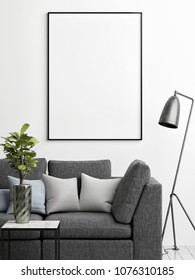 Mock up poster on the wall, living room close up, 3d render, 3d illusration