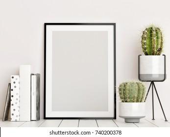 Mock up poster, Scandinavian interior concept, 3d render, 3d illustration