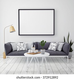 mock up poster with vintage hipster loft interior background, 3D render