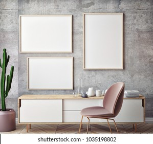 Mock up poster with vintage pastel hipster minimalism loft interior background, 3D rendering, 3D illustration