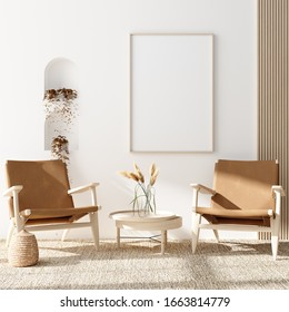 Mock up poster in warm Scandinavian style living room interior with wooden decor, 3d render